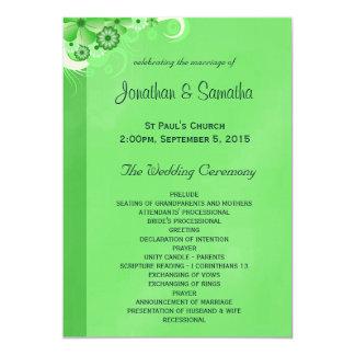 深緑色の花の平らな結婚式プログラムのテンプレート 12.7 X 17.8 インビテーションカード