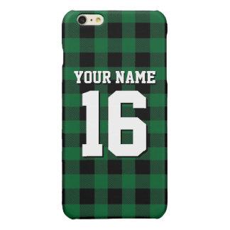 深緑色の黒くプレッピーなバッファローの格子縞のチームジャージー 光沢iPhone 6 PLUSケース