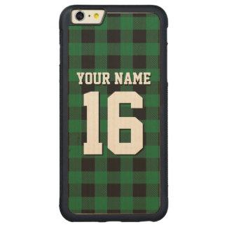 深緑色の黒くプレッピーなバッファローの格子縞のチームジャージー CarvedメープルiPhone 6 PLUSバンパーケース