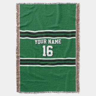 深緑色の黒のチームジャージーカスタムな数名前 スローブランケット