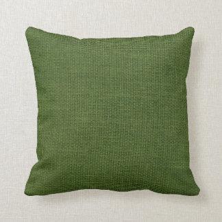 深緑色バーラップのシンプル クッション
