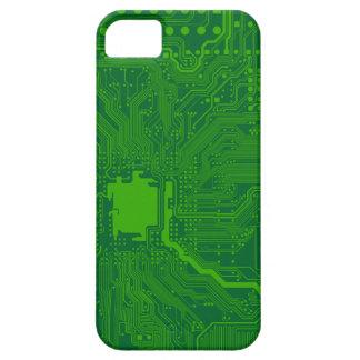 深緑色マザーボードコンピュータ回路- iPhone SE/5/5s ケース