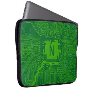 深緑色モノグラムのマザーボードコンピュータ回路- ラップトップスリーブ