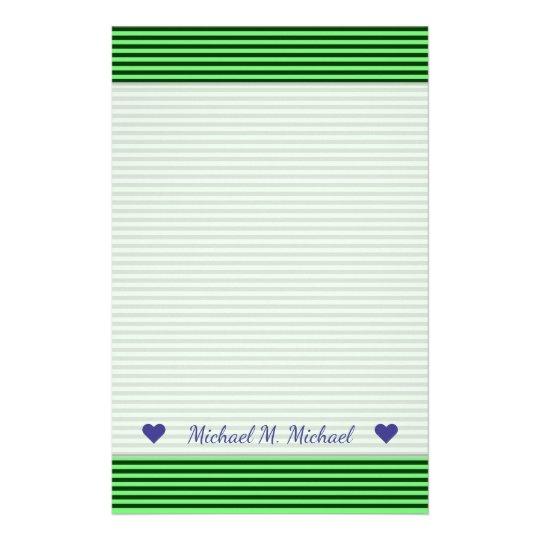 深緑色及び薄緑のストライプかラインパターン 便箋