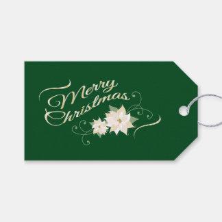 深緑色、メリークリスマスの白いポインセチア ギフトタグ