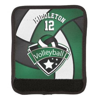 深緑色、白及び黒バレーボールを個人化して下さい ラゲッジ ハンドルラップ