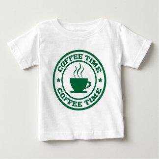 深緑色A251コーヒー時間円 ベビーTシャツ