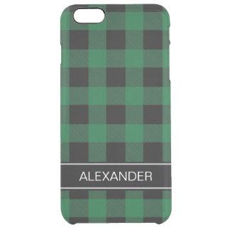 深緑色Blkのバッファローの点検の格子縞の名前のモノグラム クリア iPhone 6 Plusケース