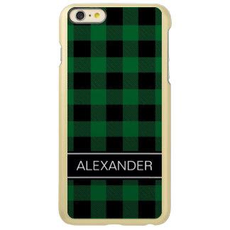 深緑色Blkのバッファローの点検の格子縞の名前のモノグラム Incipio Feather Shine iPhone 6 Plusケース