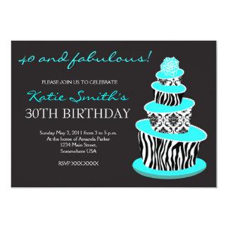 混乱したシマウマのケーキの誕生日の招待 12.7 X 17.8 インビテーションカード