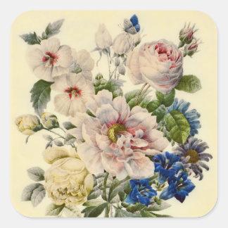混合された花のヴィンテージの植物の花束 スクエアシール