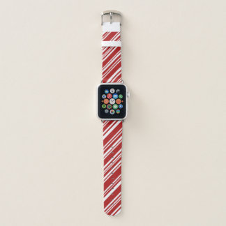 混合された赤と白の斜めのペパーミントは縞で飾ります APPLE WATCHバンド
