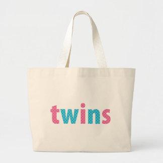 混合される双生児のコレクション- {水 + ピンク} ラージトートバッグ