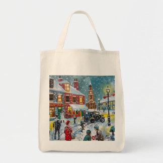 混雑した通り場面冬の雪のゴードンブルースの芸術 トートバッグ