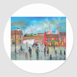 混雑した通り場面列車のゴードンブルースの芸術 ラウンドシール
