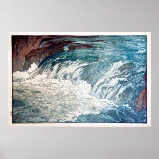 渓流、急流、ひろし吉田の木版画 ポスター