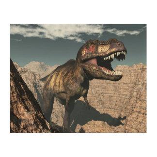 渓谷でとどろくティラノサウルス・レックスのレックス ウッドウォールアート