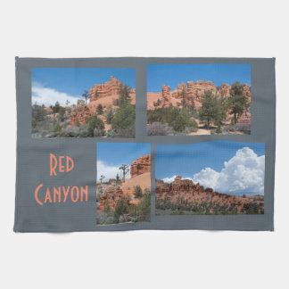 渓谷のユタの赤い写真テンプレート キッチンタオル