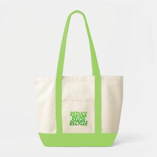 減らして下さい、再使用して下さい、リサイクルして下さい トートバッグ