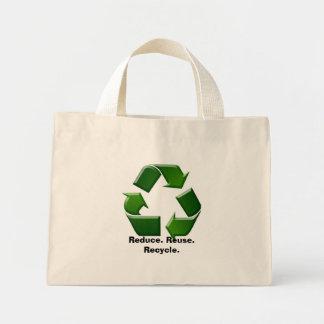 減らして下さい。 再利用。 リサイクルして下さい ミニトートバッグ