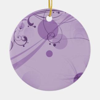 渦巻および薄紫の円の点 セラミックオーナメント