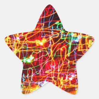 渦巻くネオンライトの白熱 星シール