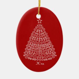 渦巻のホワイトクリスマスの木のイメージのオーナメント セラミックオーナメント