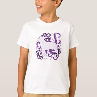 渦巻のボストン紫色のテリア Tシャツ
