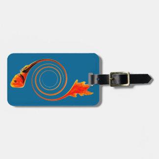 渦巻の抽象美術の魚 ラゲッジタグ