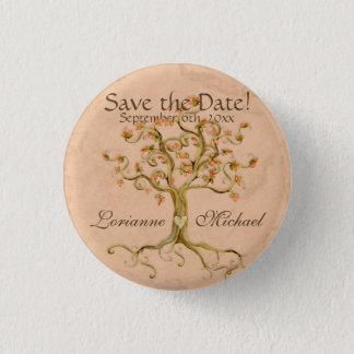 渦巻の木の根Antiqued羊皮紙は日付を救います 3.2cm 丸型バッジ