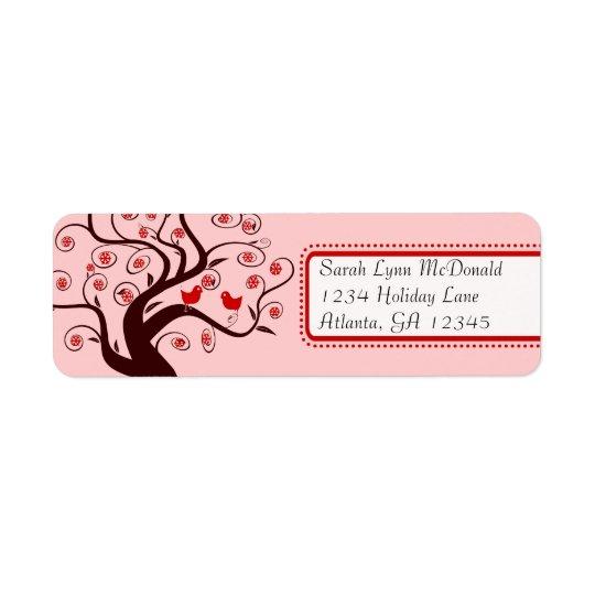 渦巻の木の赤いピンクのトリムのかわいくお洒落な鳥 返信用宛名ラベル
