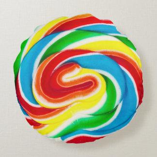 渦巻の棒つきキャンデーの円形の枕 ラウンドクッション