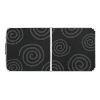 渦巻パターンデザインのPongの黒いテーブル ビアポンテーブル