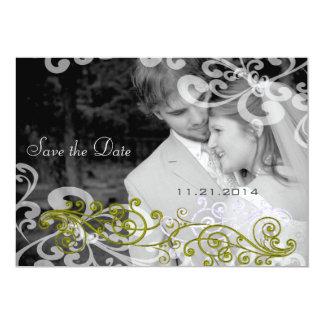 渦巻形のあなたの写真の結婚式招待状 カード