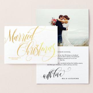 渦巻形ので結婚したなクリスマスの結婚式の写真は感謝していしています 箔カード