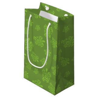 渦巻形のなカメの緑パターン スモールペーパーバッグ