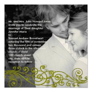 渦巻形のなダマスク織あなたの写真の結婚式招待状 カード