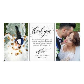 渦巻形のな原稿2の結婚の写真は感謝していしています カード