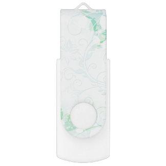 渦巻形のな水の花柄のファンタジー USBフラッシュドライブ