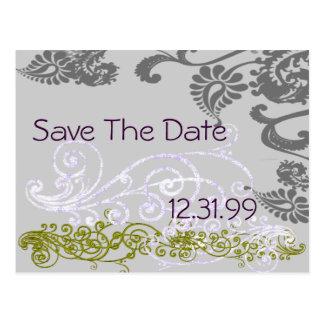 渦巻形のな紫色及び緑の保存日付 ポストカード