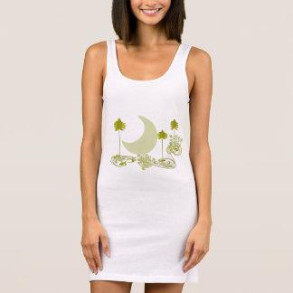 渦巻形のな緑の木のチュニック 袖なしドレス