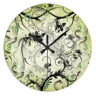 渦巻形のな葉のつる植物の円形の柱時計 ラージ壁時計