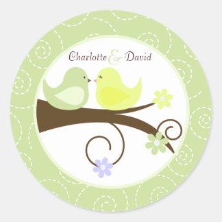 渦巻形のな鳥の(緑の)結婚式の円の好意のステッカー ラウンドシール