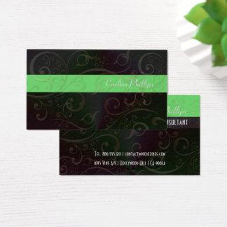 渦巻、アメリカツガの緑のストライプのマーケティング・コンサルタント 名刺