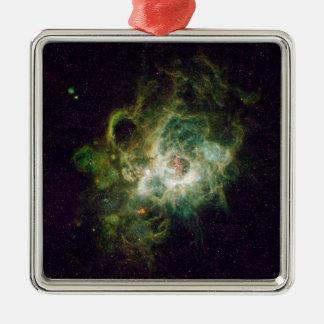 渦状銀河の星の子供部屋 シルバーカラー正方形オーナメント