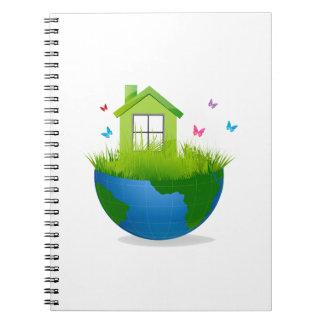 温室および鳥のecologのdesigが付いている半分の地球 ノートブック