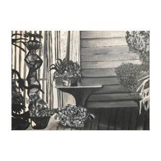 温室のポーチの白黒油絵 キャンバスプリント