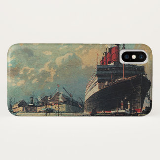 港のヴィンテージの交通機関の旅客船 iPhone X ケース