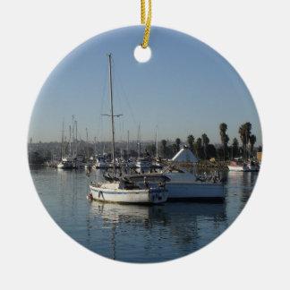 港の帆ボート セラミックオーナメント