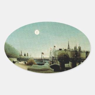 港の聖者ニコからのIleセントルイスの眺め 楕円形シール